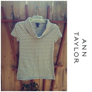 Ann Taylor Striped cowl neck short sleeve top XS